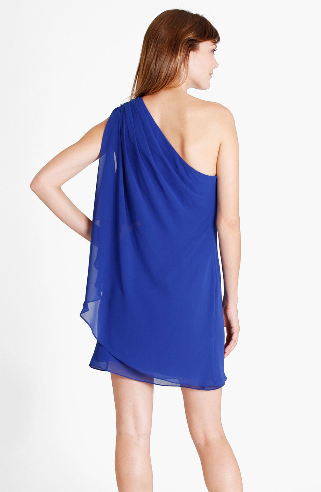 Alternate Image 2  - JS Boutique Embellished One Shoulder Draped Chiffon Dress