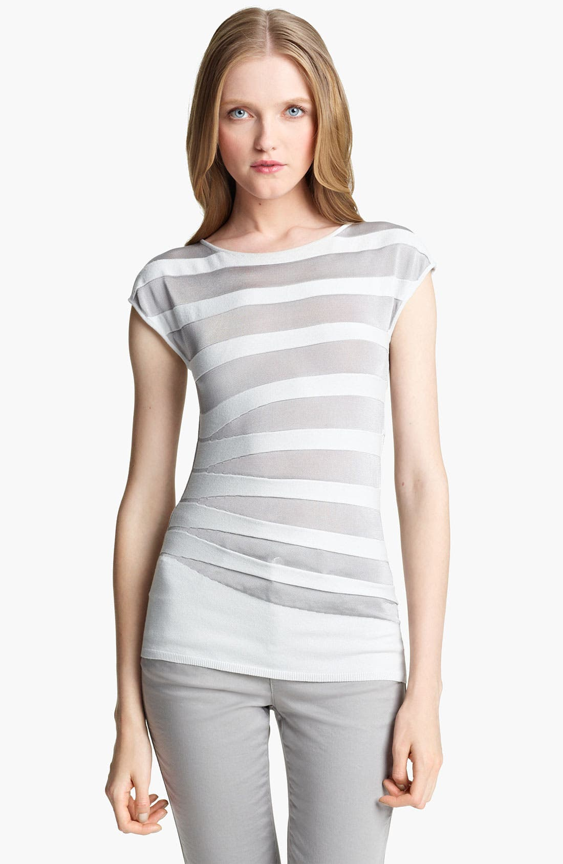 Main Image - Armani Collezioni Asymmetrical Stripe Knit Top