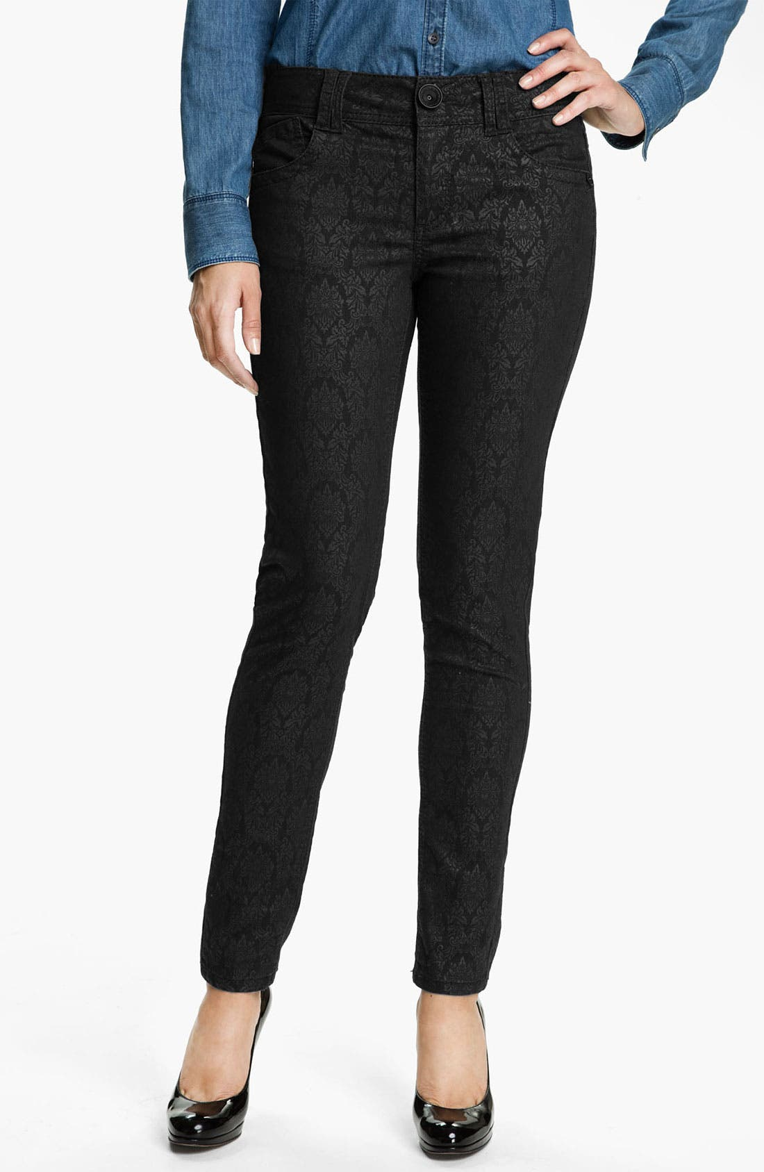 Main Image - Wit & Wisdom Brocade Print Skinny Jeans (Black) (Nordstrom Exclusive)