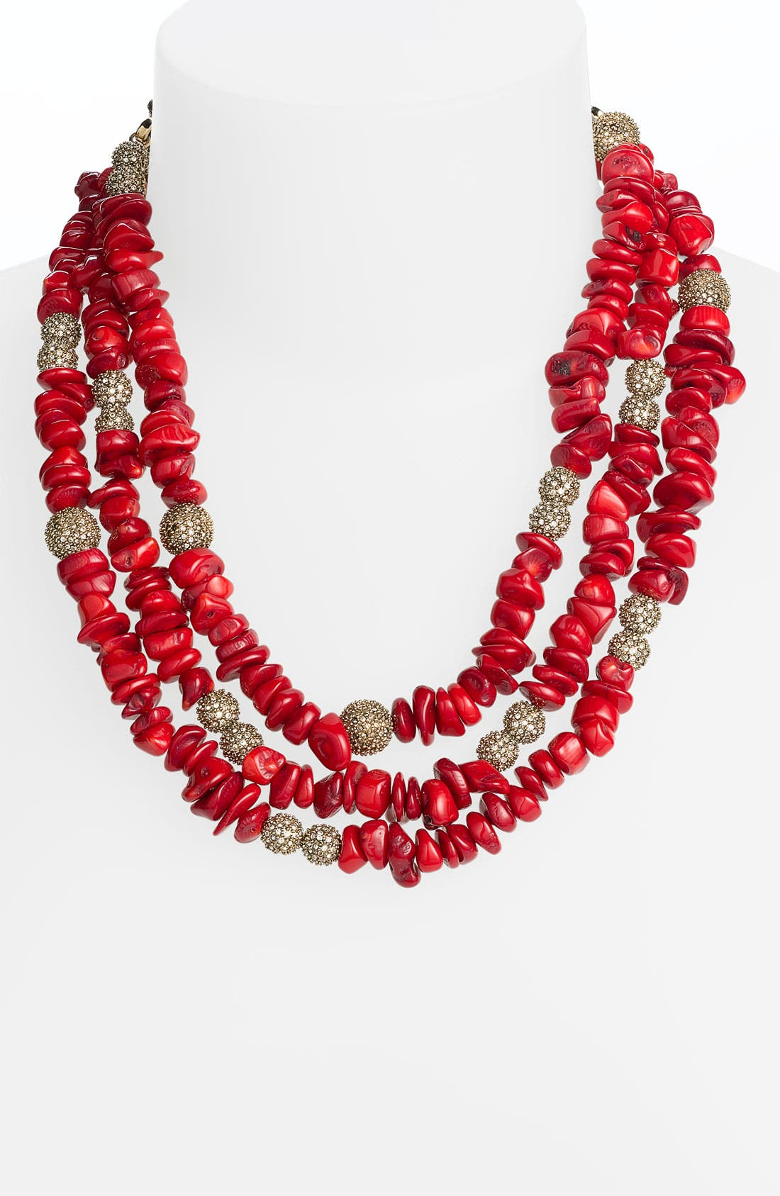 Main Image - St. John Collection Coral & Crystal Beaded Necklace