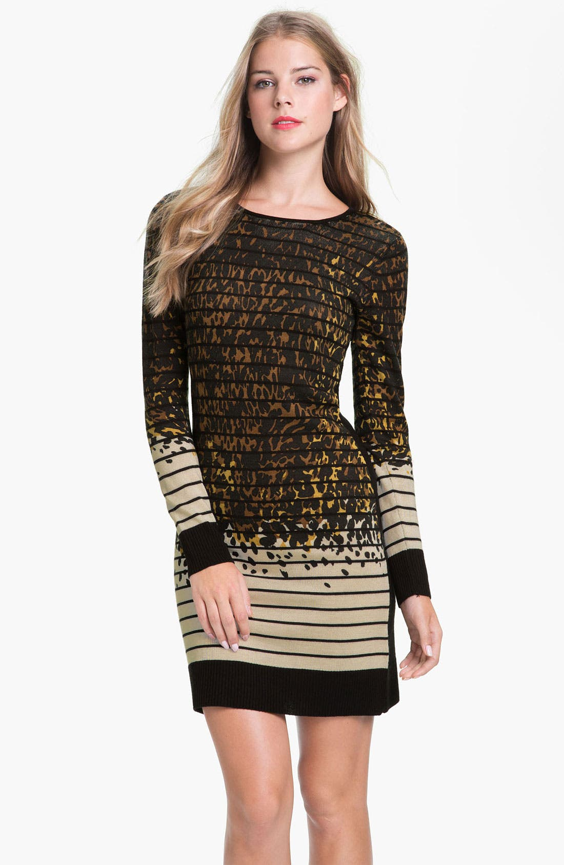 Main Image - Tahari Multi Print Long Sleeve Sweater Dress
