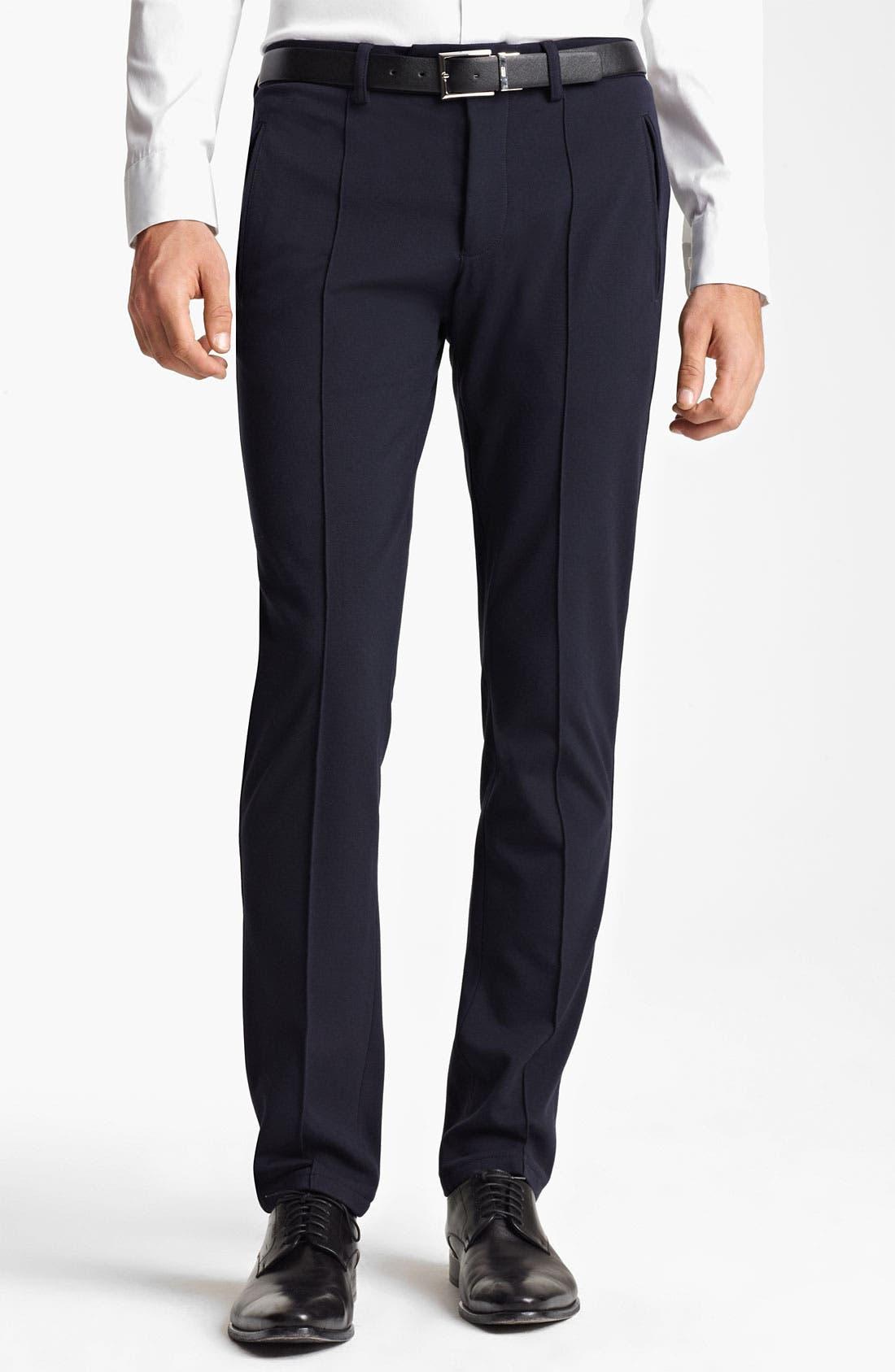 Main Image - Armani Collezioni Jersey Stretch Slim Fit Trousers