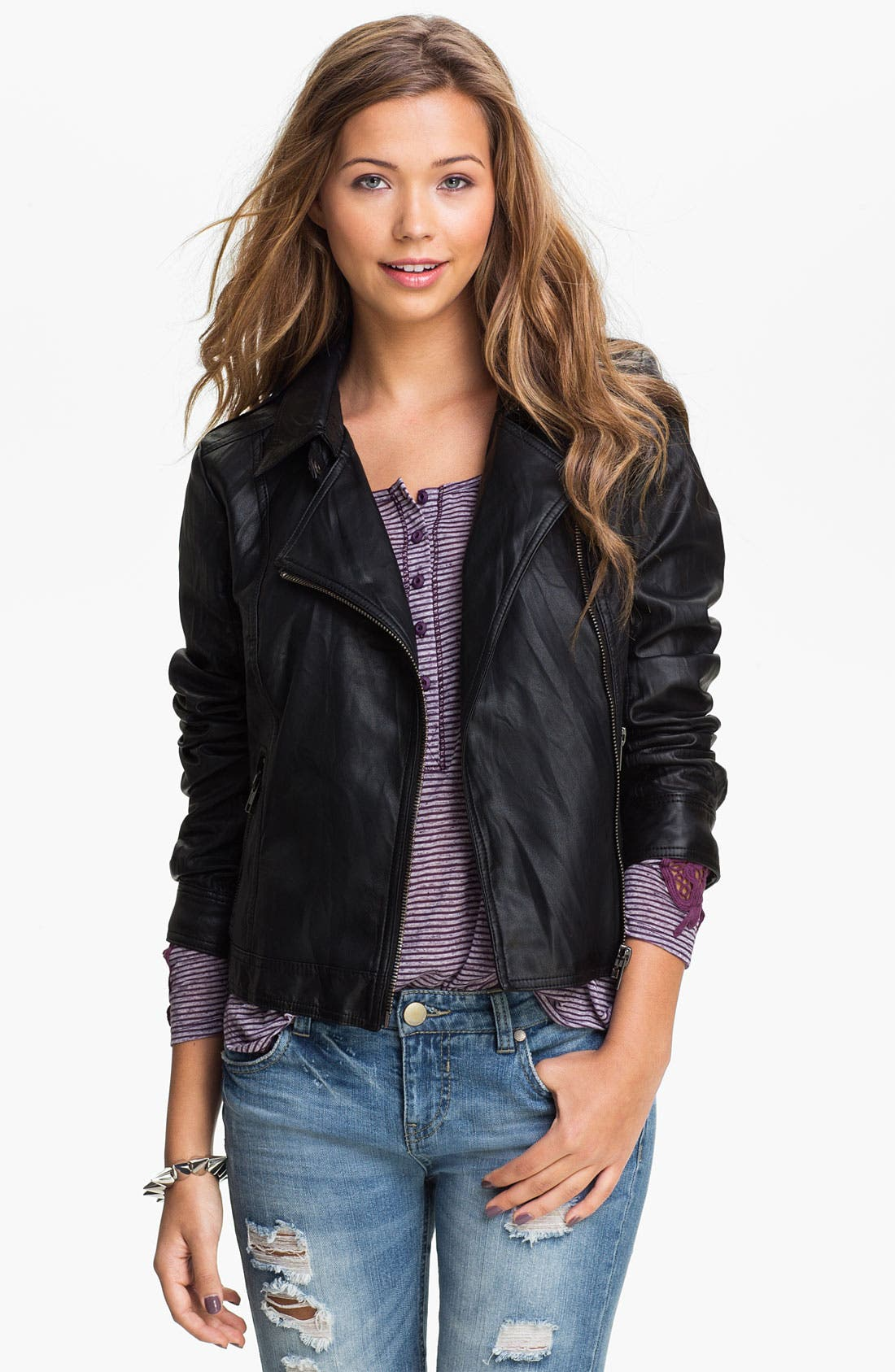 Main Image - Lost Faux Leather Biker Jacket (Juniors)