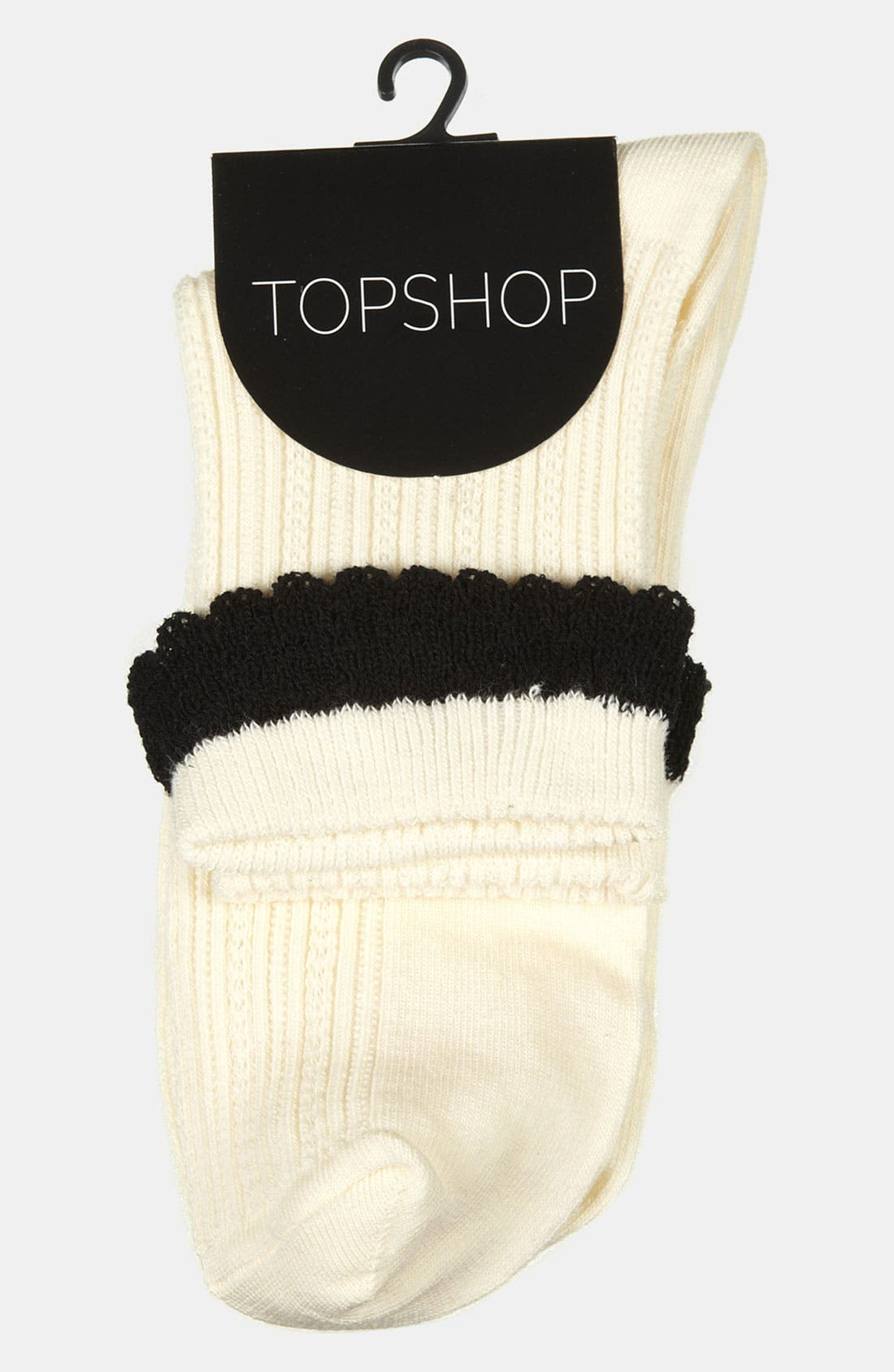 Alternate Image 2  - Topshop Crochet Trim Ankle Socks
