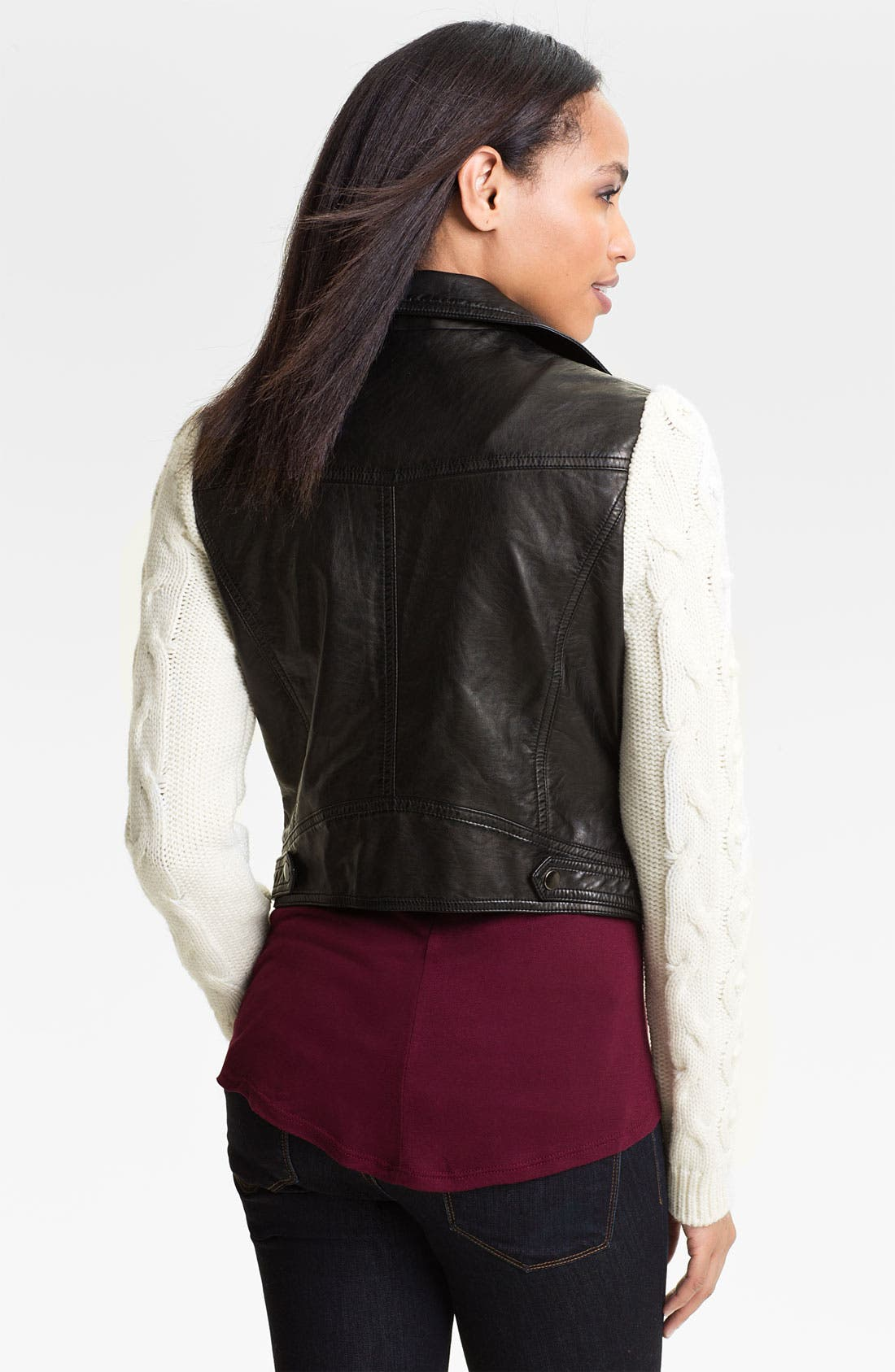 Alternate Image 2  - Two by Vince Camuto Faux Leather Jacket with Knit Sleeves
