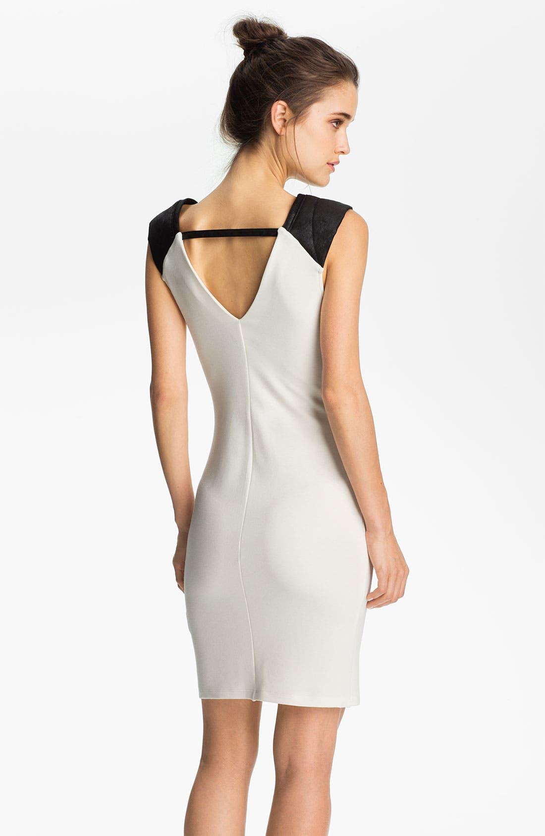 Alternate Image 2  - Velvet by Graham & Spencer Faux Leather Shoulder Dress