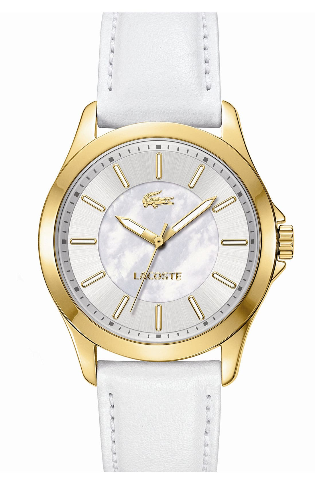 Alternate Image 1 Selected - Lacoste 'Sofia' Round Leather Strap Watch