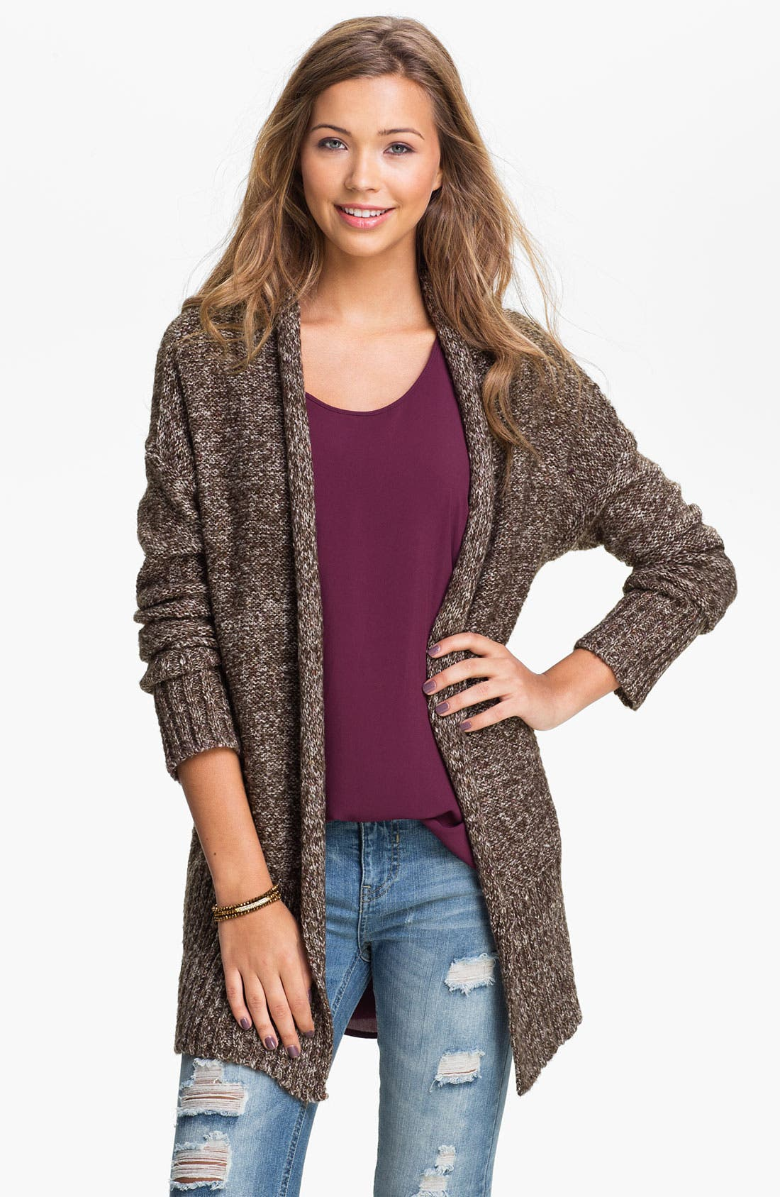 Main Image - Love by Design Oversized Mélange Cardigan (Juniors)