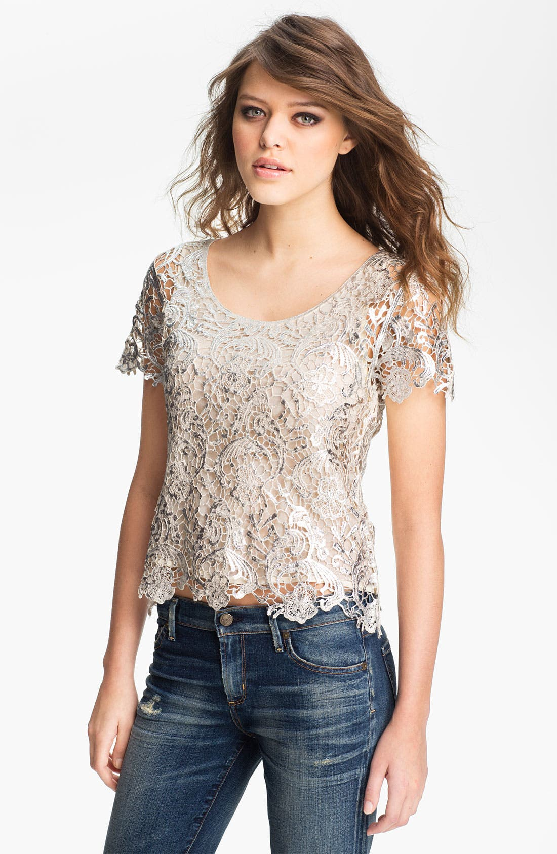 Main Image - GREYLIN Lace Metallic Brushed Lace Top