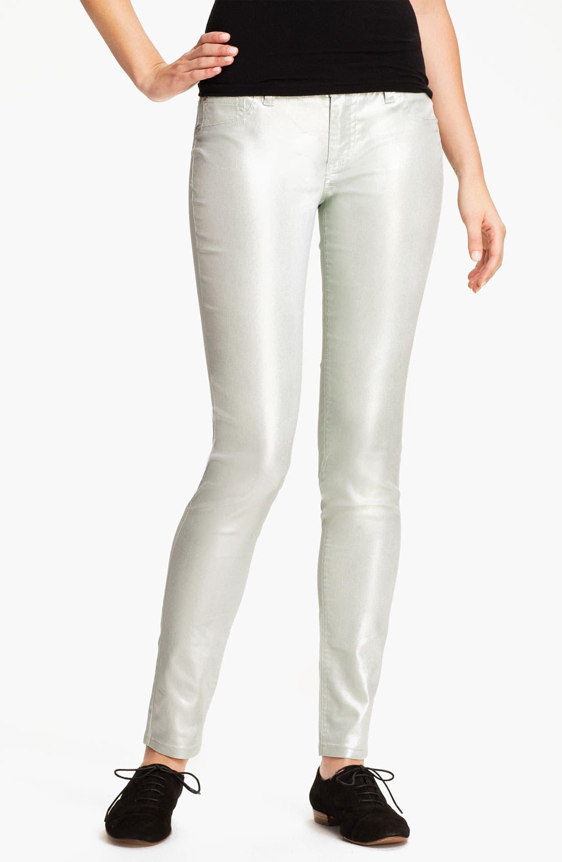 Alternate Image 2  - Fire Pearl Coated Skinny Jeans (Juniors)