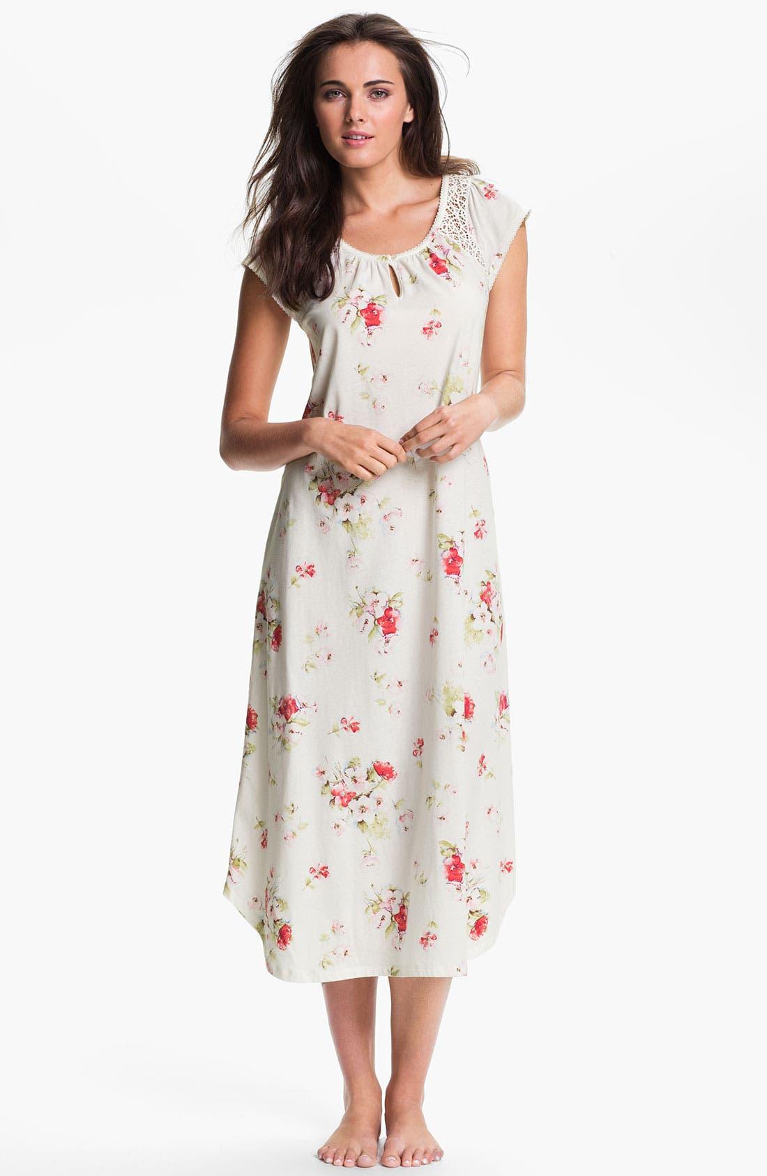 Alternate Image 1 Selected - Carole Hochman Designs 'Roseberry Amaryllis' Nightgown