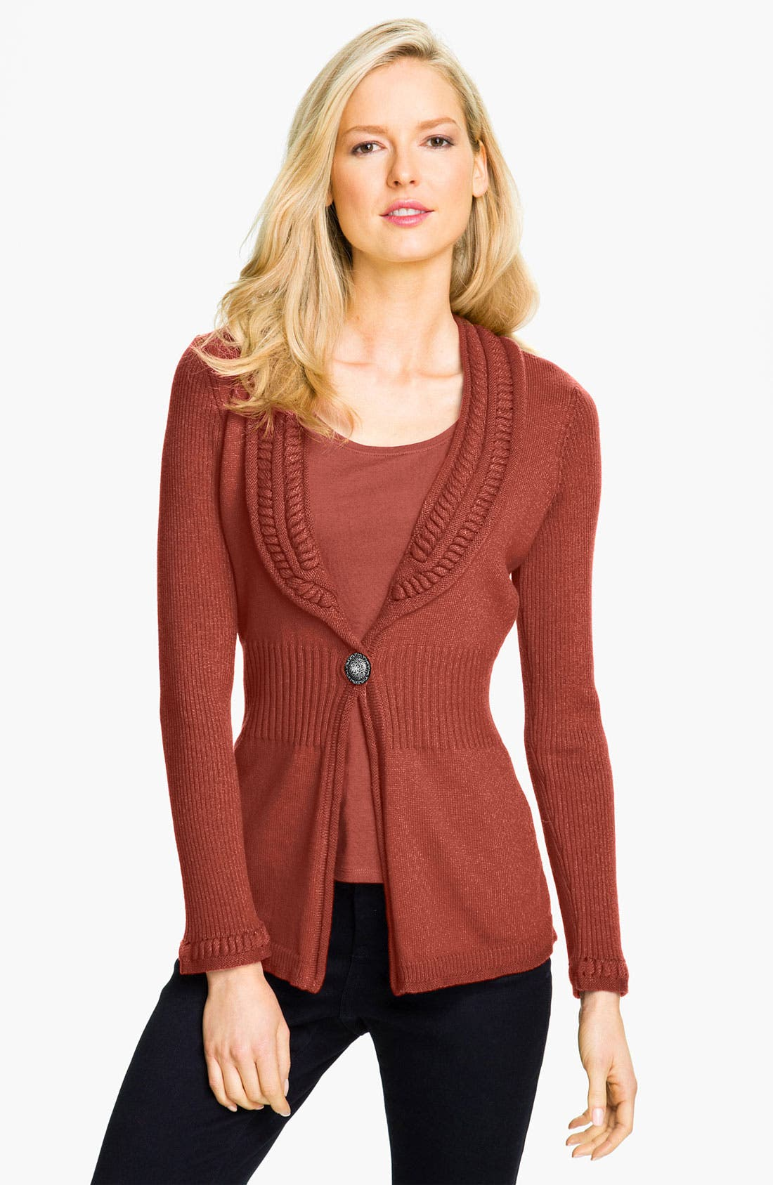 Alternate Image 1 Selected - Nic + Zoe Textured Collar Cardigan