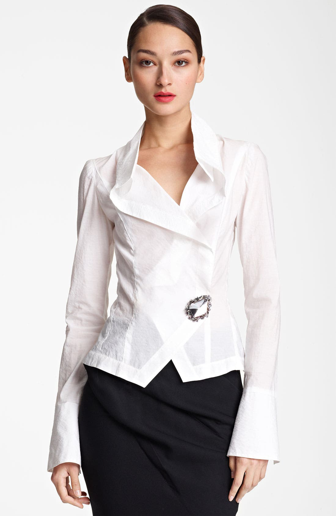 Main Image - Donna Karan Collection Crystal Pin Paper Cotton Shirt