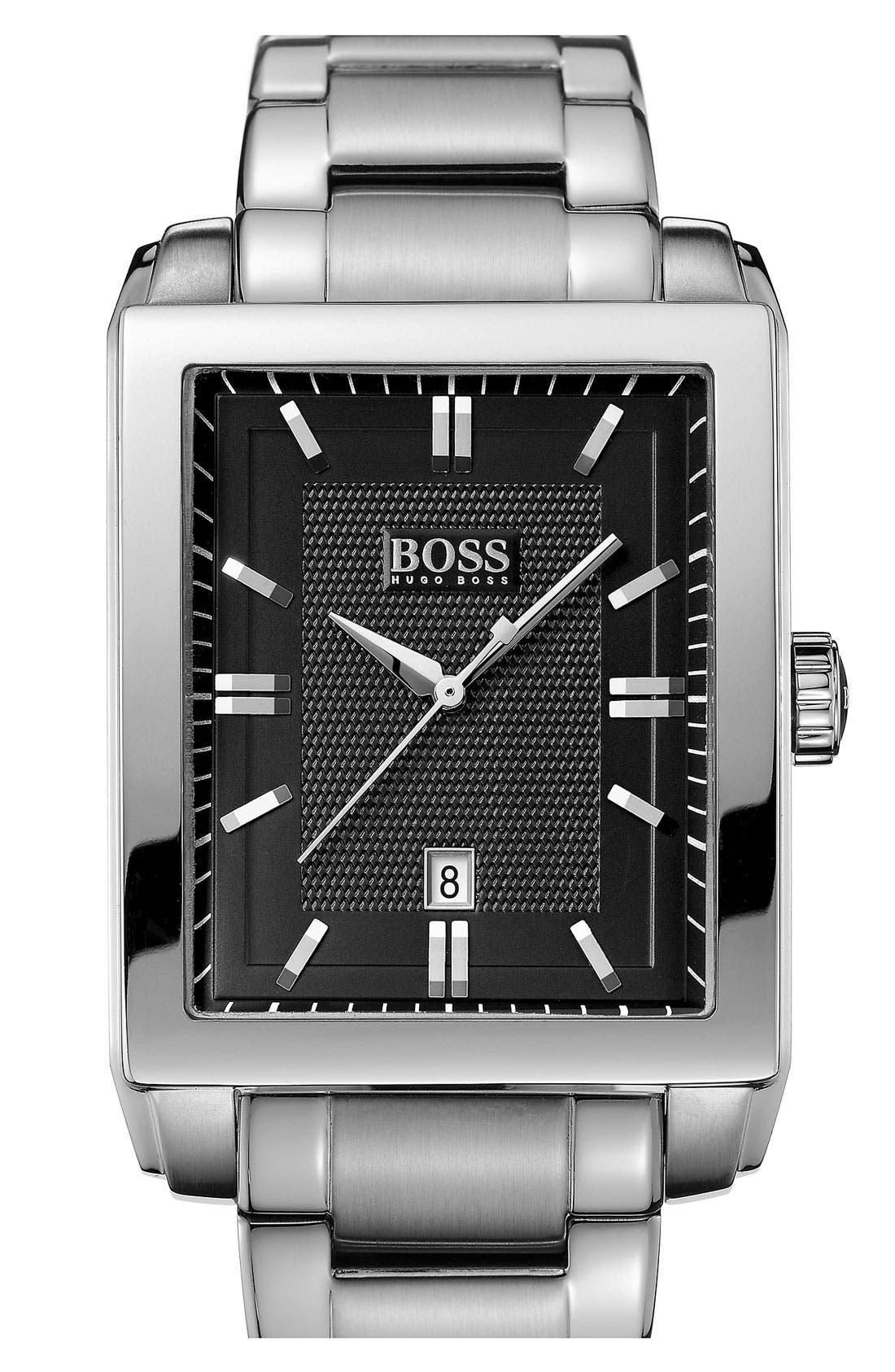 Alternate Image 1 Selected - BOSS HUGO BOSS Rectangular Bracelet Watch, 35mm x 40mm
