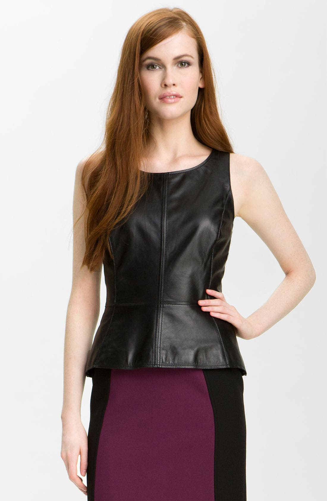 Main Image - Halogen® Leather Front Peplum Top (Petite)