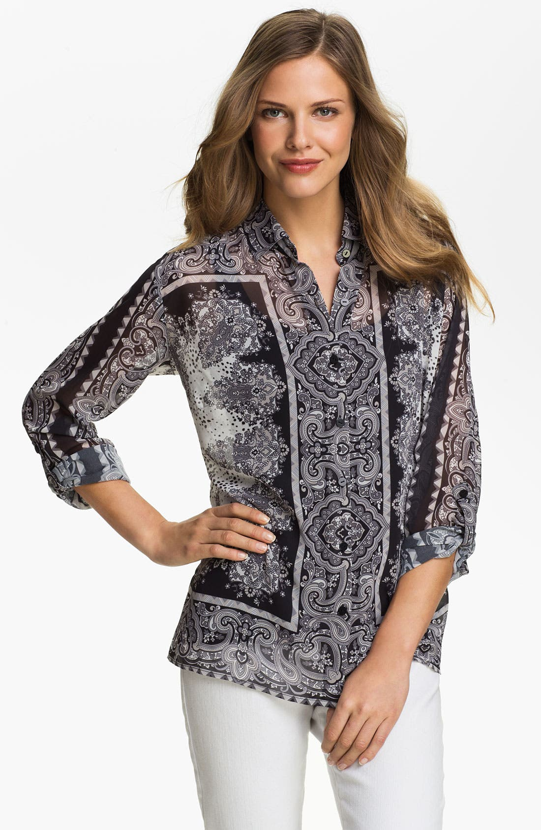 Alternate Image 1 Selected - August Silk Print Chiffon Blouse