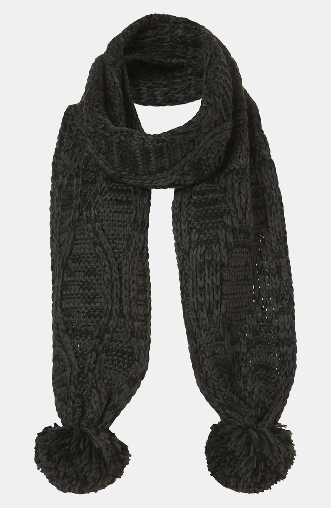 Main Image - Topshop Cable Knit Pompom Scarf