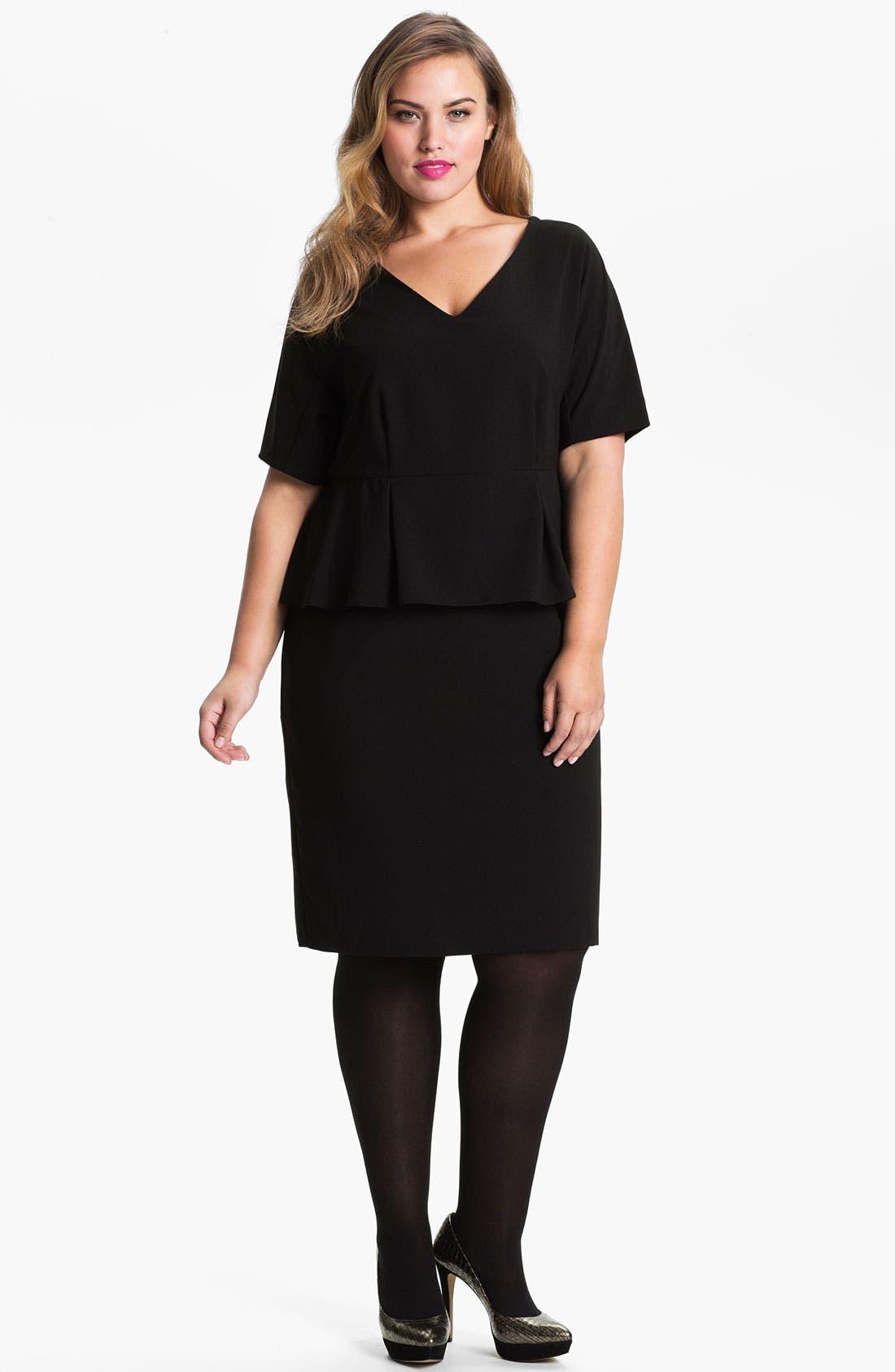 Main Image - Evans 'Debra' Peplum Dress (Plus Size)