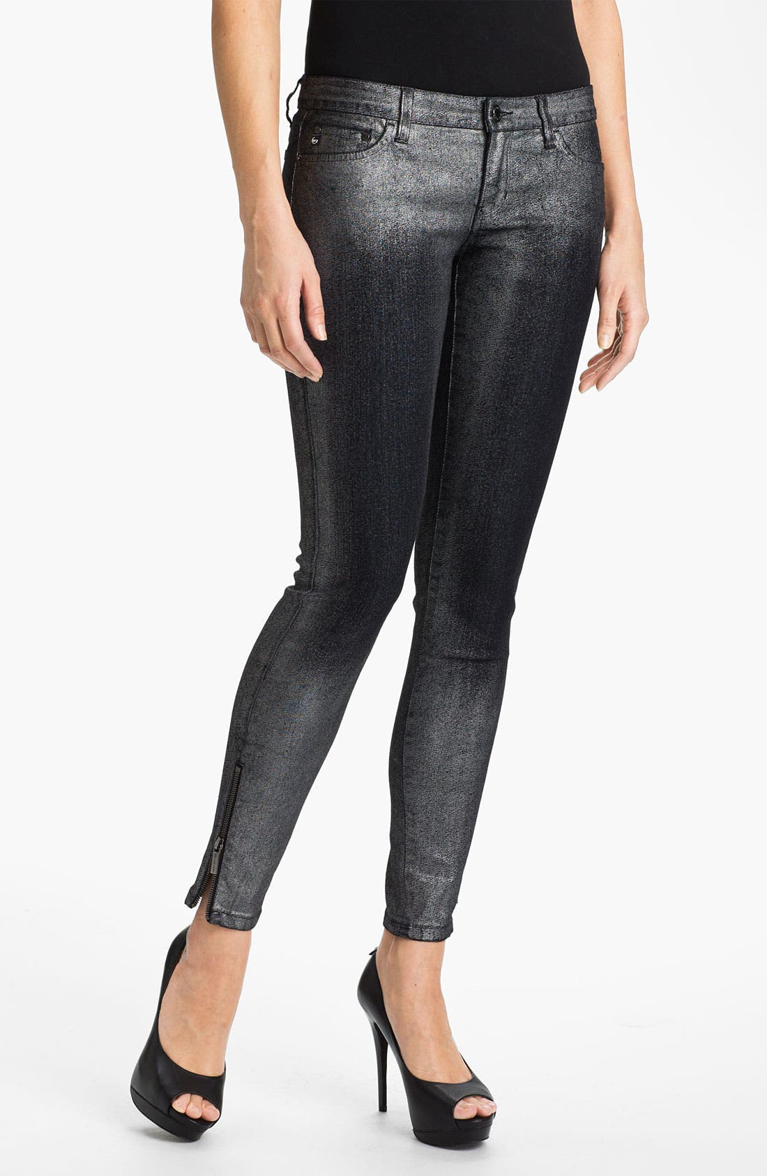 Main Image - MICHAEL Michael Kors Metallic Foil Skinny Pants