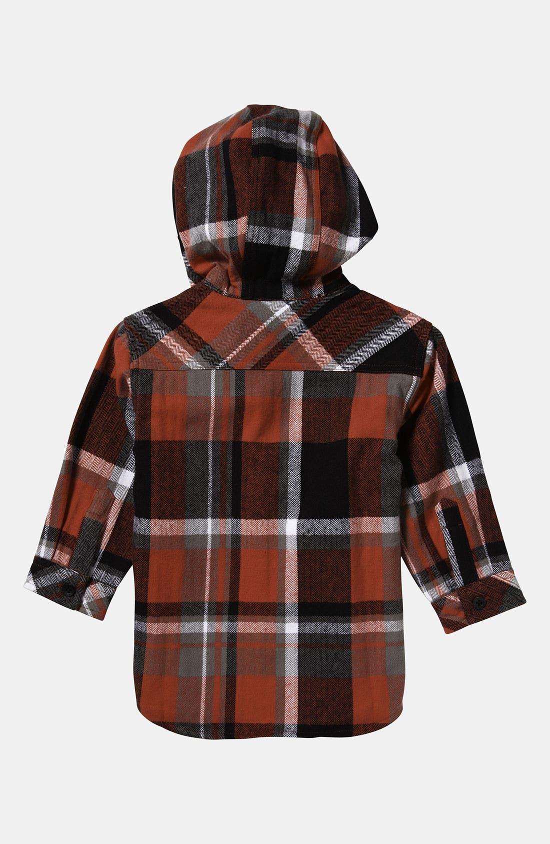 Alternate Image 2  - Quiksilver 'Four Short' Hooded Flannel Shirt (Infant)