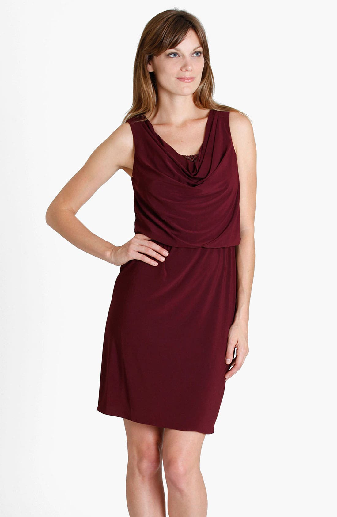 Main Image - JS Boutique Cowl Neck Jersey Blouson Dress