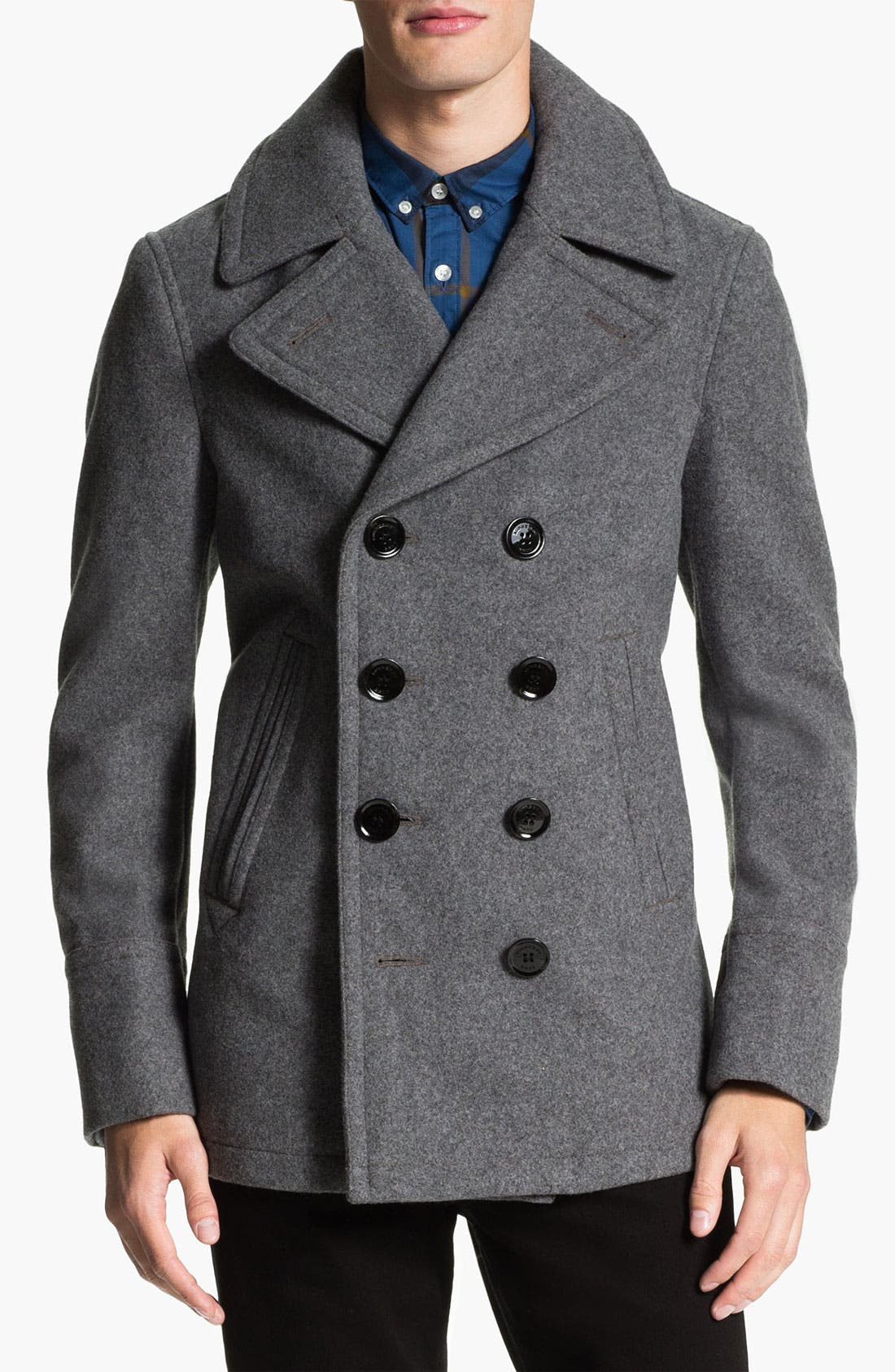 Alternate Image 1 Selected - Burberry Brit Double Breasted Peacoat