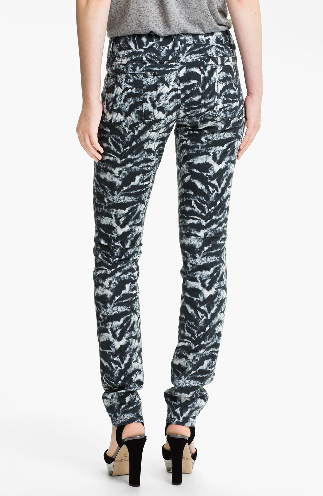 Alternate Image 2  - Alice + Olivia Tiger Print Skinny Stretch Jeans