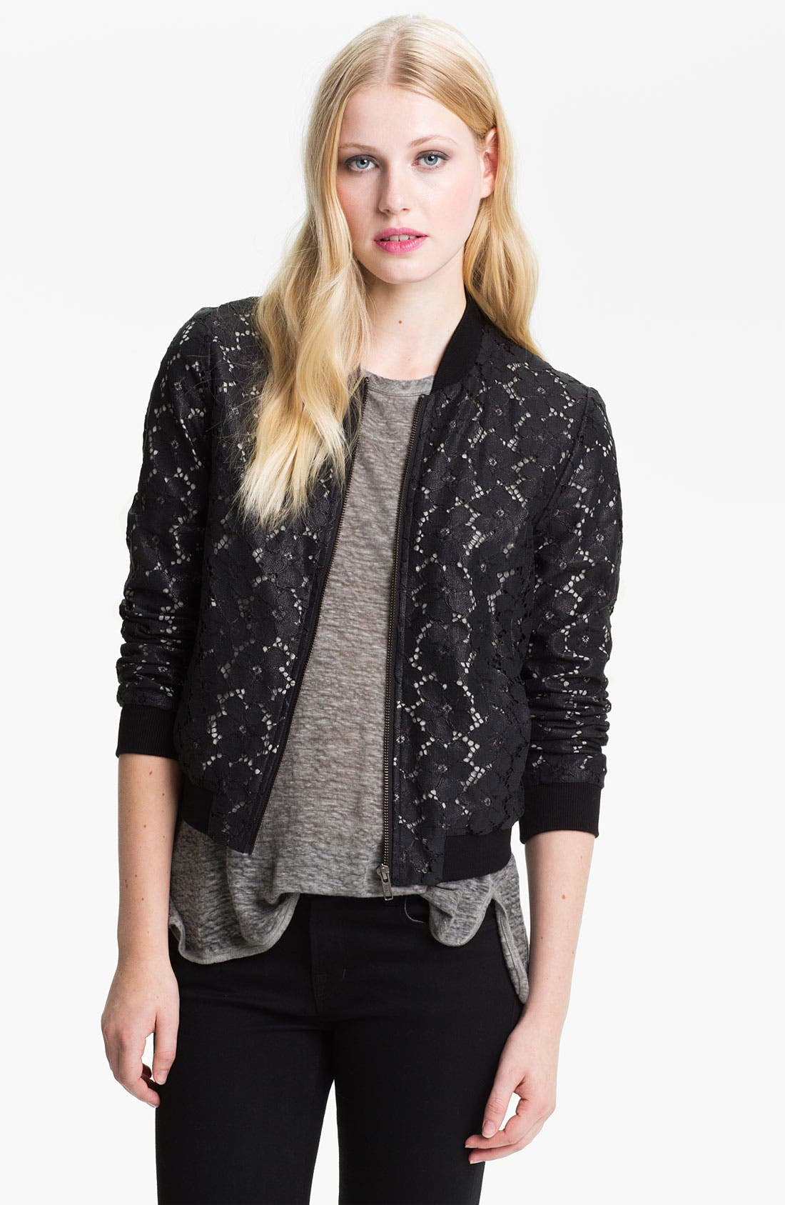 Alternate Image 1 Selected - Truth and Pride Coated Lace Bomber Jacket