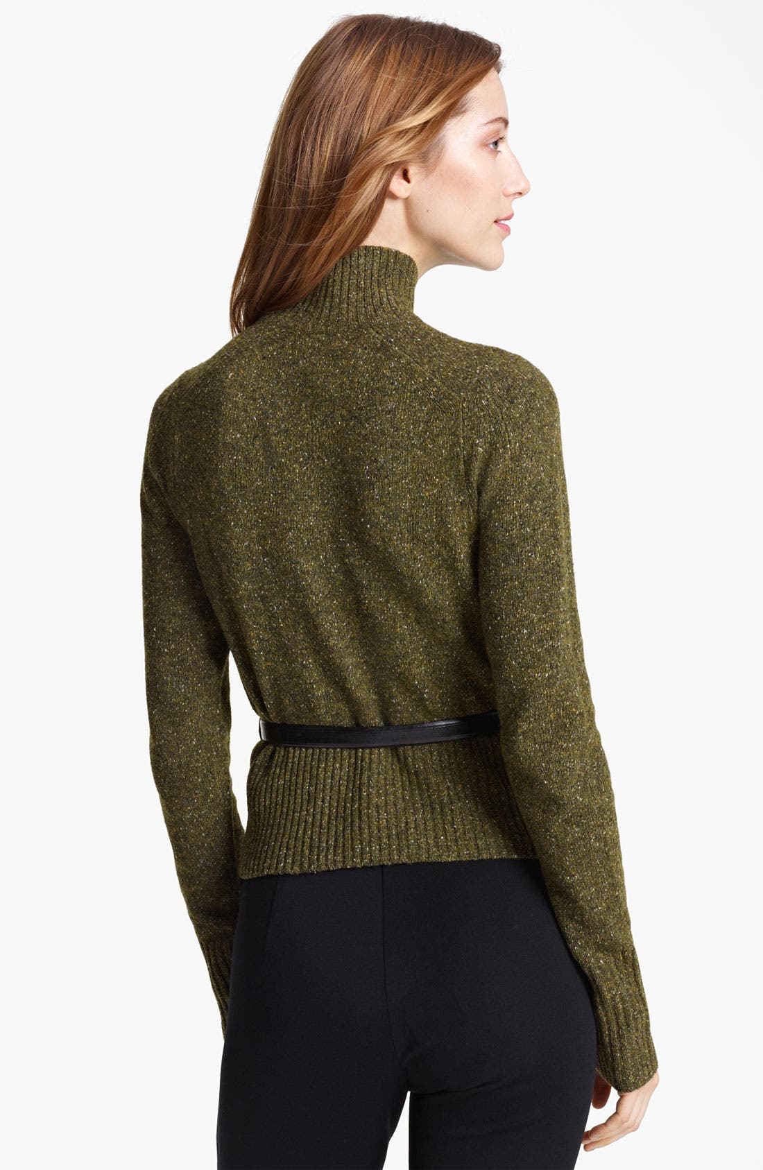 Alternate Image 2  - Burberry London Belted Tweed Turtleneck