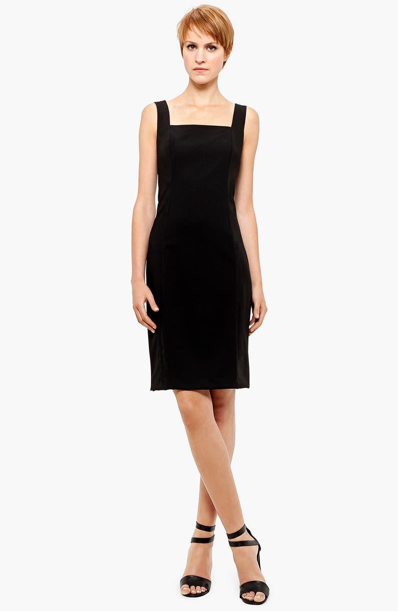 Square Neck Wool Sheath Dress
