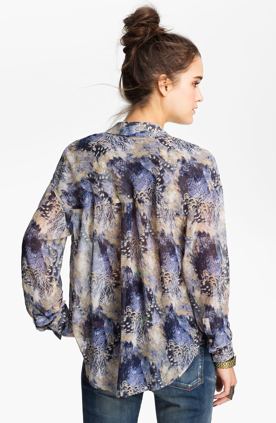 Alternate Image 2  - Free People Feather Print Chiffon Shirt