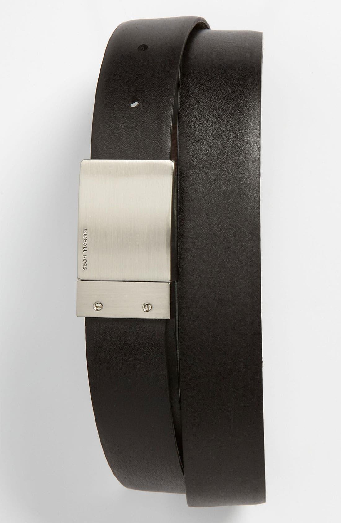 Main Image - Michael Kors Reversible Leather Plaque Buckle Belt