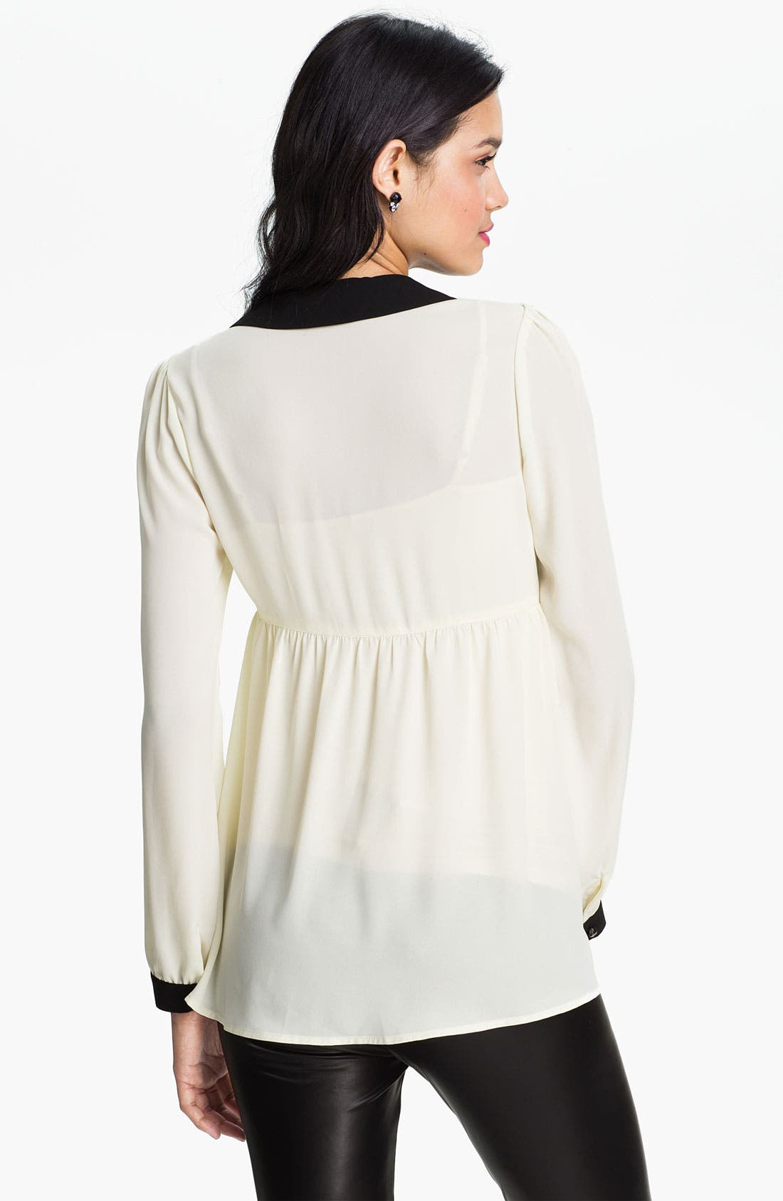Alternate Image 2  - Chloe K Contrast Trim Babydoll Tunic (Juniors)