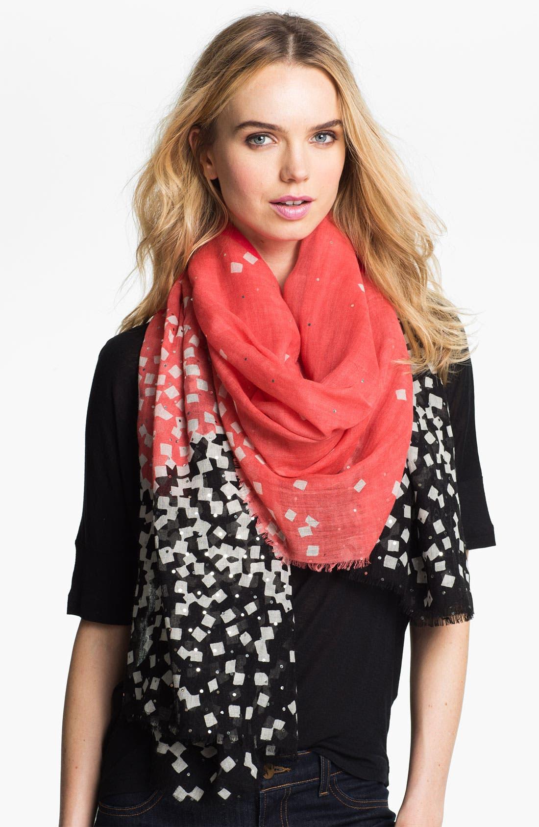 'Hanover' Wool & Silk Scarf,                         Main,                         color, Confetti Peach Coral