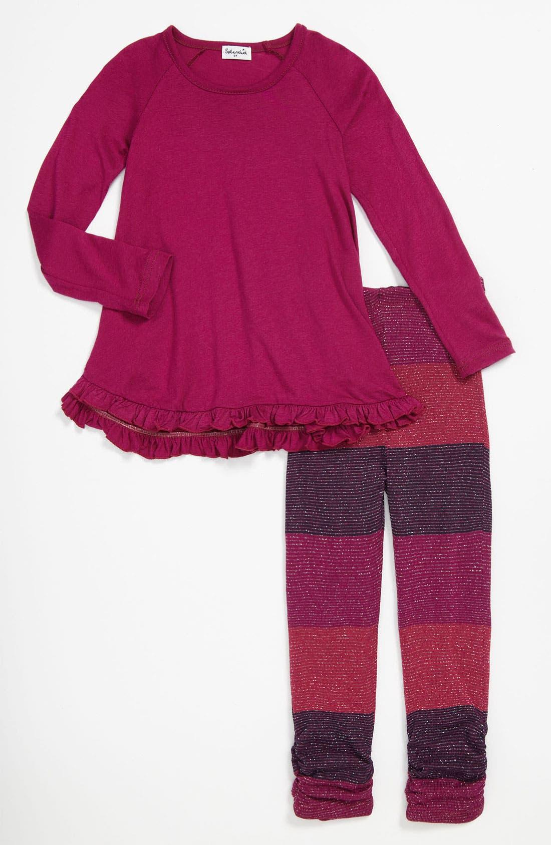 Main Image - Splendid Shimmer Stripe Tunic & Leggings (Toddler)