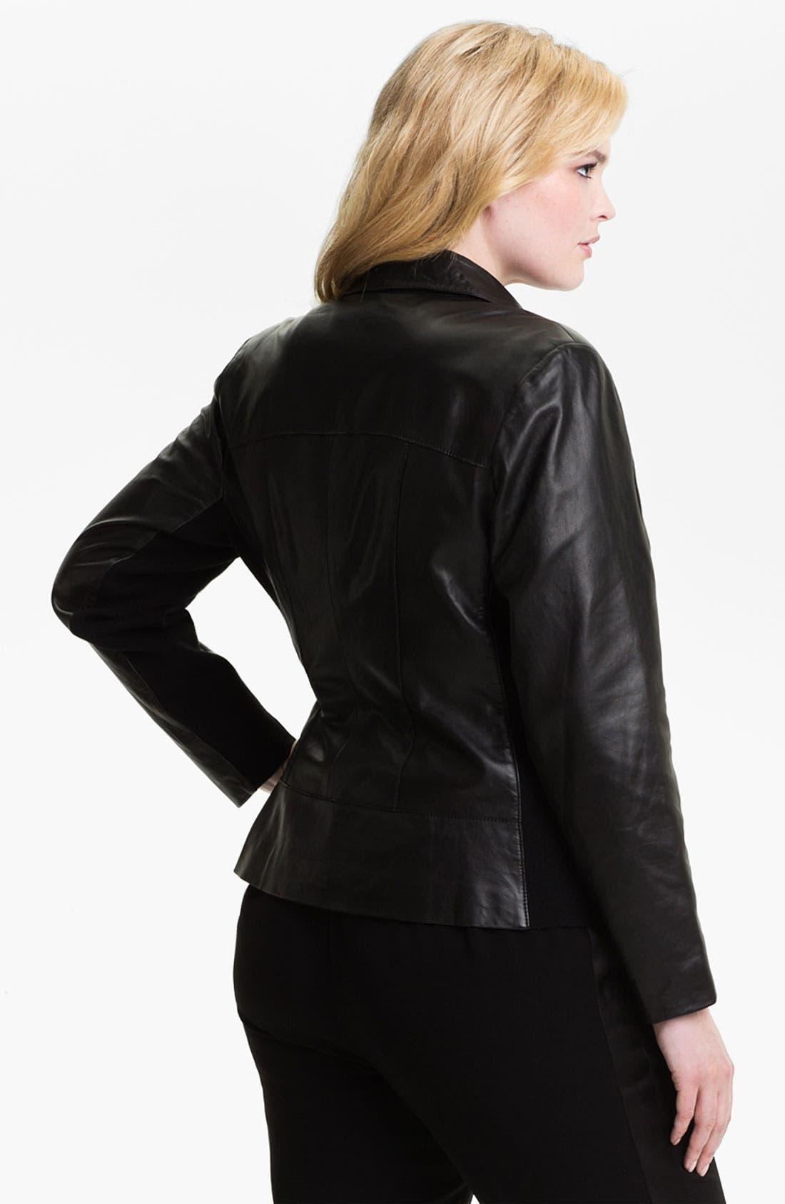 Alternate Image 2  - Sejour Leather Motorcycle Jacket (Plus)