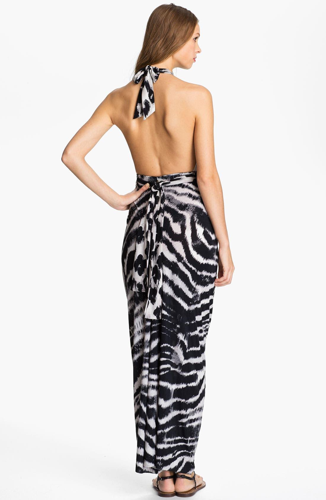 Alternate Image 2  - Tbags Los Angeles V-Neck Printed Halter Maxi Dress