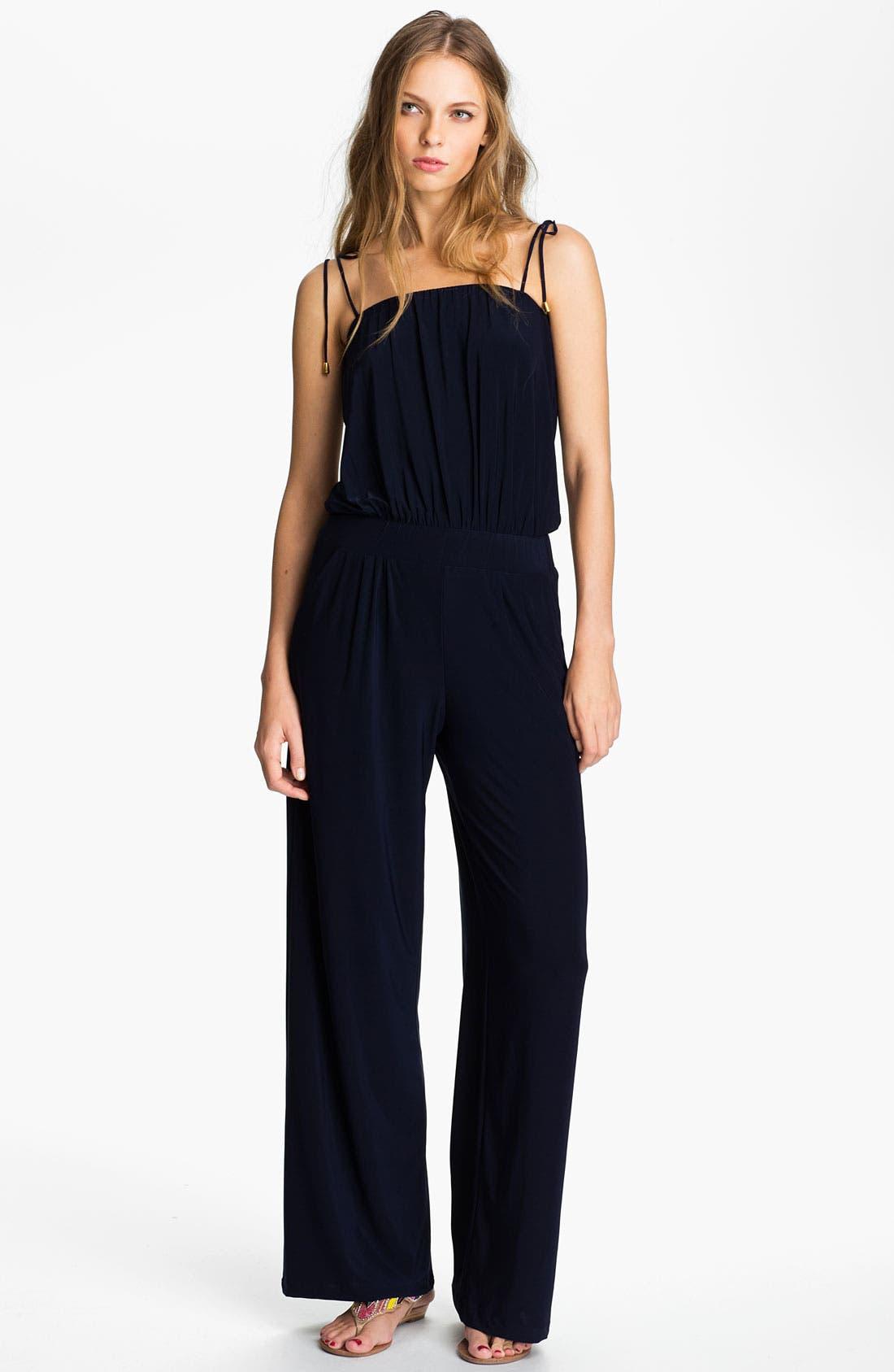 Main Image - Tbags Los Angeles Tie Shoulder Jersey Jumpsuit