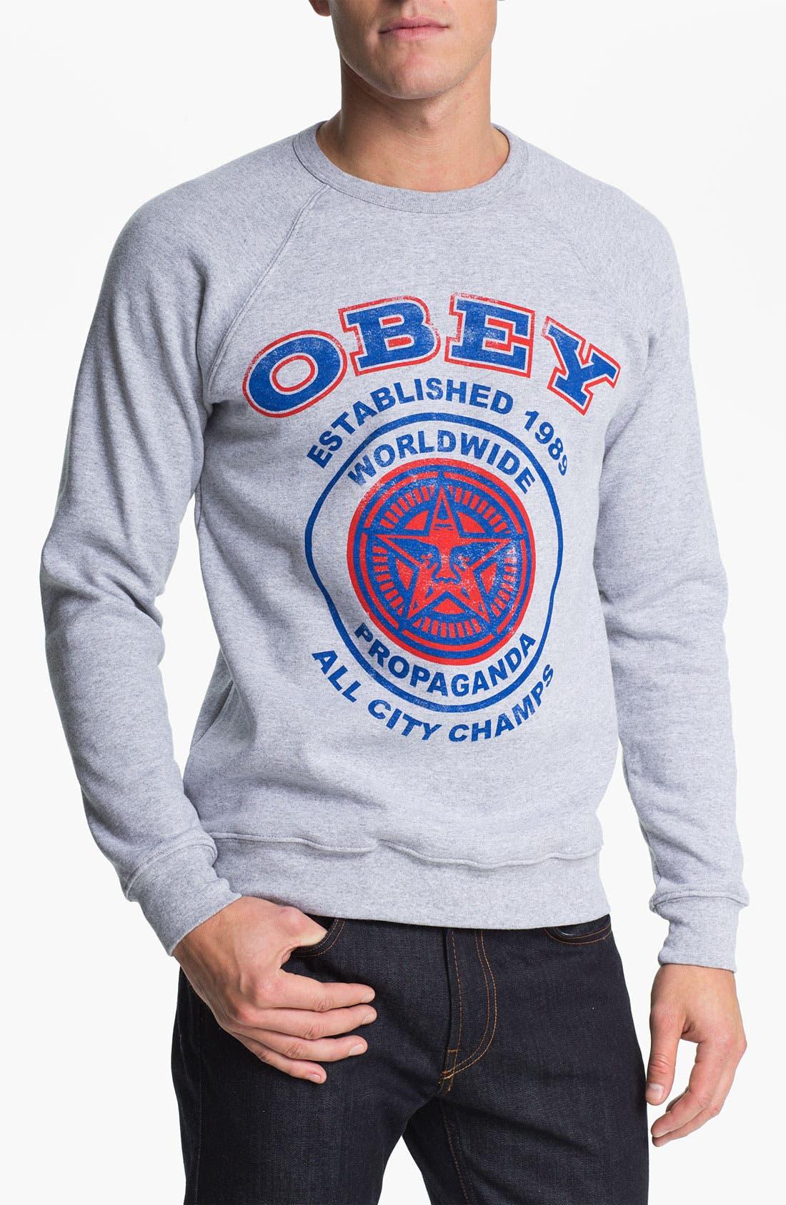 Main Image - Obey 'All City Champs' Graphic Crewneck Sweatshirt