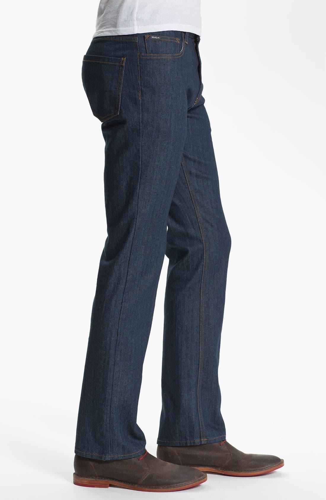 Alternate Image 3  - RVCA Slim Straight Leg Jeans (Classic Blue)