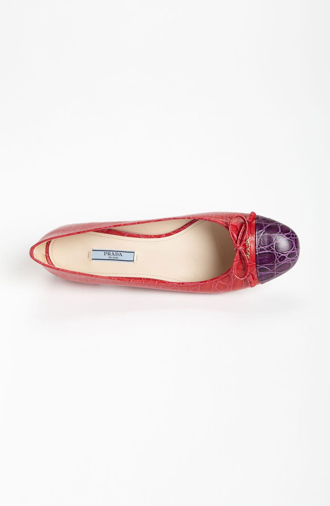 Alternate Image 3  - Prada Croco Cap Toe Ballet Flat