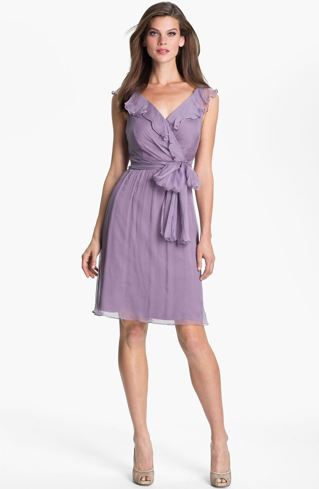 Alternate Image 1 Selected - Amsale Ruffle Crinkle Silk Chiffon Dress