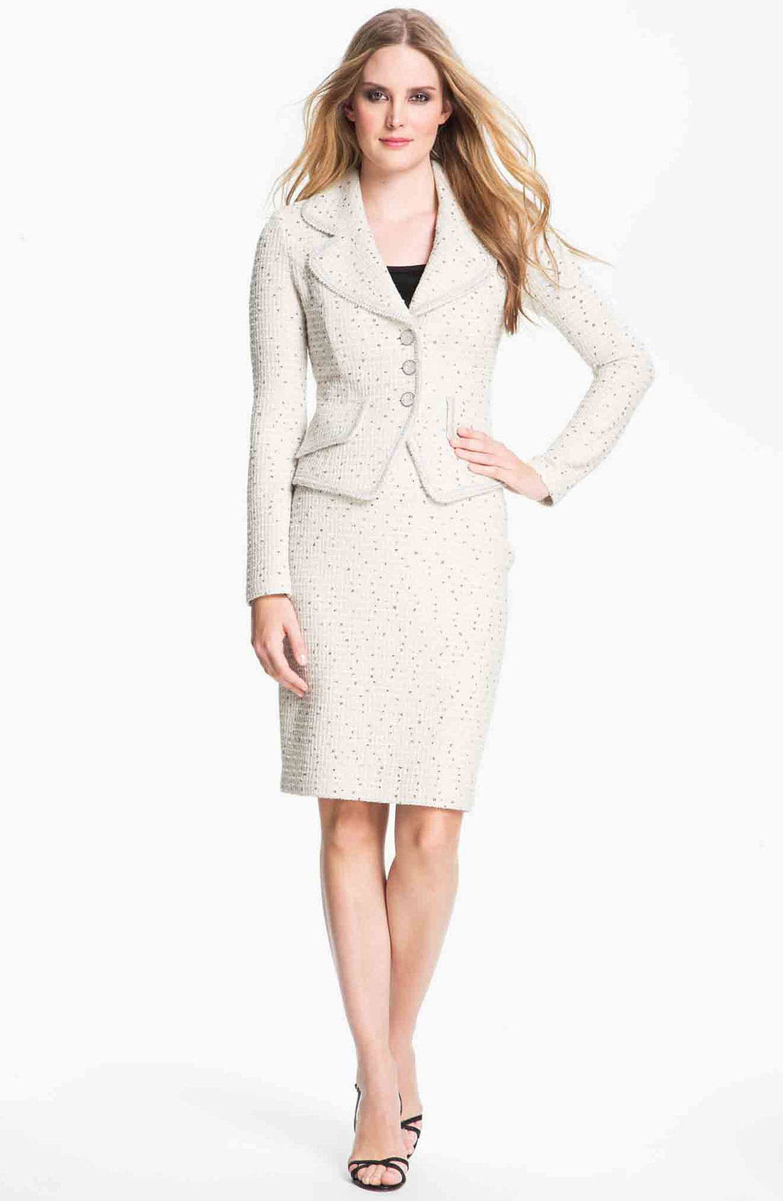 Main Image - St. John Collection Shimmer Dot Tweed Pencil Skirt