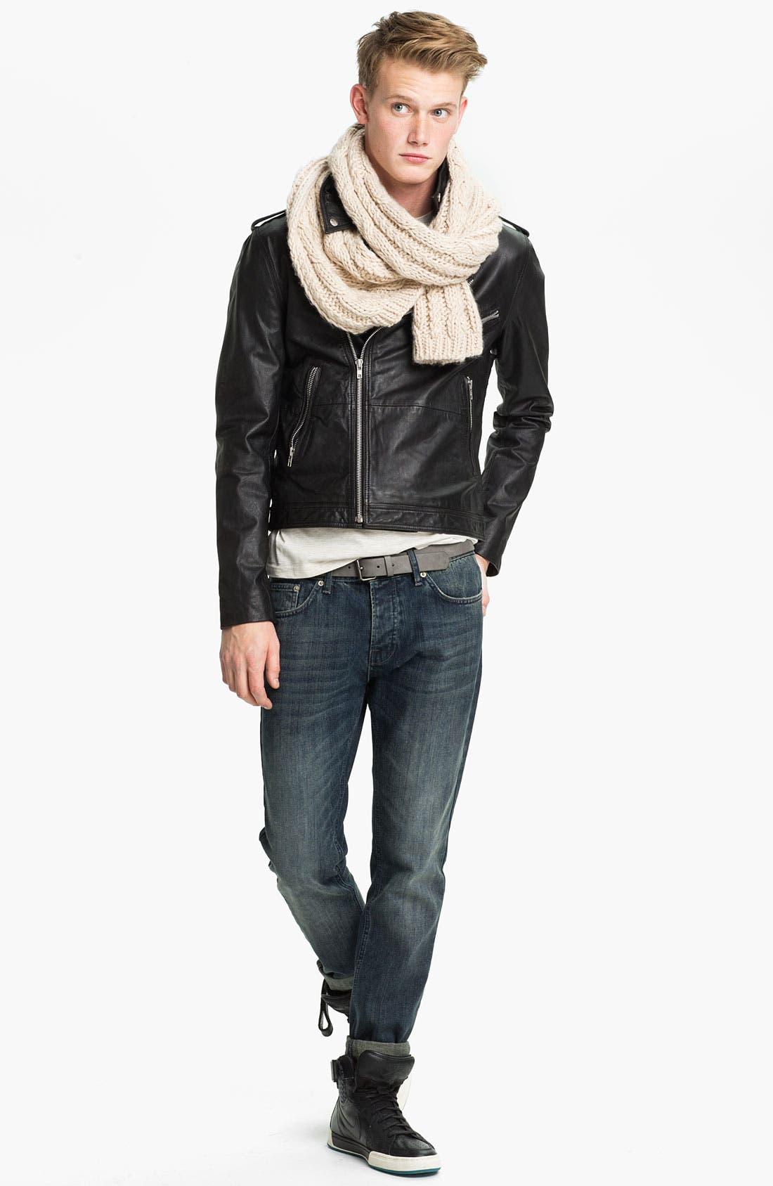 Alternate Image 4  - Topman Leather Biker Jacket