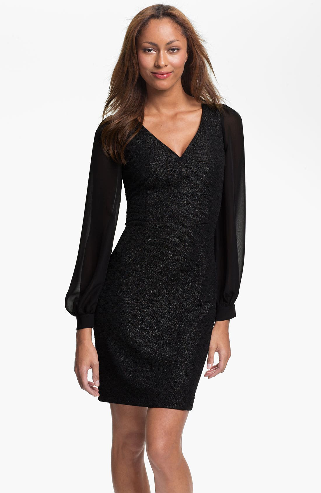 Main Image - Marc New York by Andrew Marc Illusion Sleeve Shimmer Sheath Dress