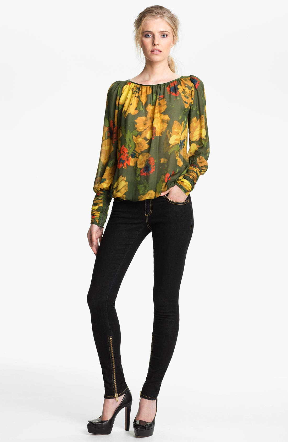 Alternate Image 1 Selected - Rachel Zoe 'Sabina' Zip Cuff Silk Blouse