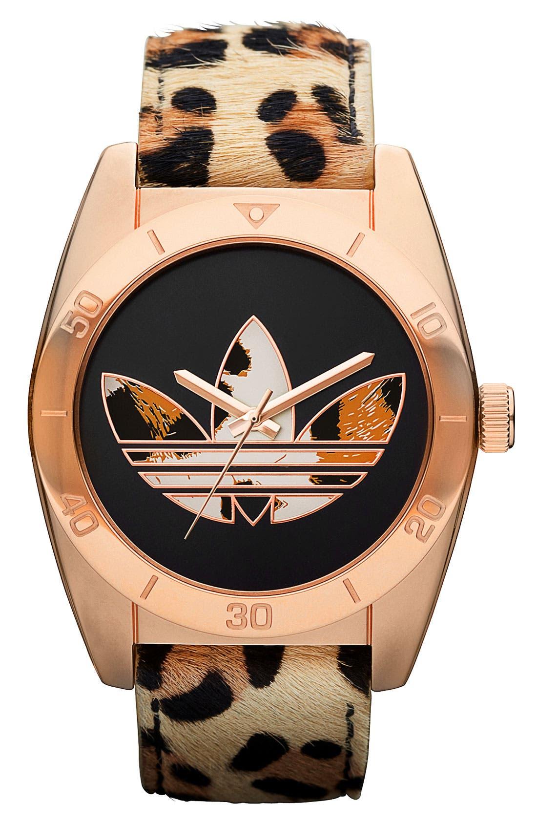 Alternate Image 1 Selected - adidas Originals 'Santiago' Leopard Print Watch
