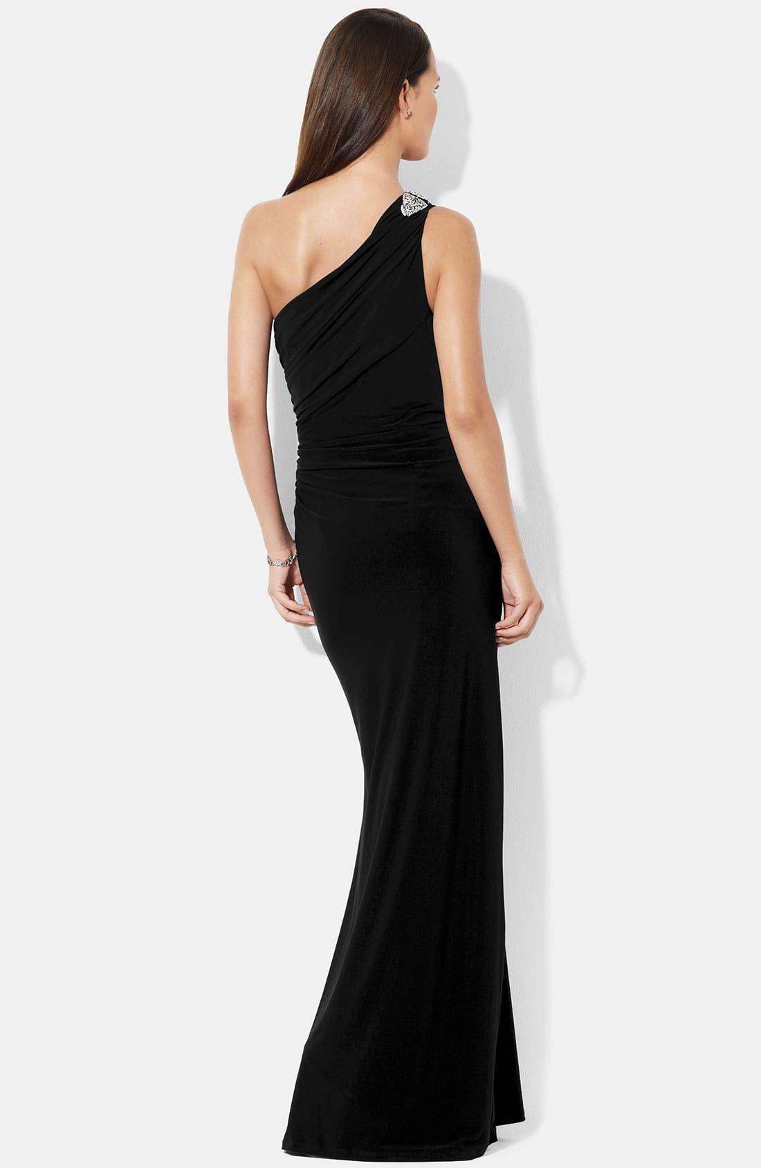 Alternate Image 3  - Lauren Ralph Lauren One Shoulder Matte Jersey Gown