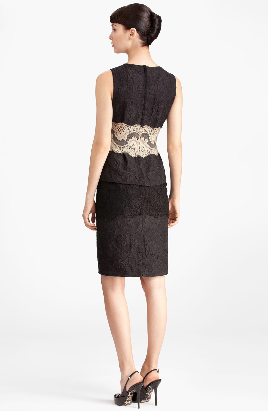 Alternate Image 2  - Dolce&Gabbana Contrast Lace & Jacquard Peplum Dress