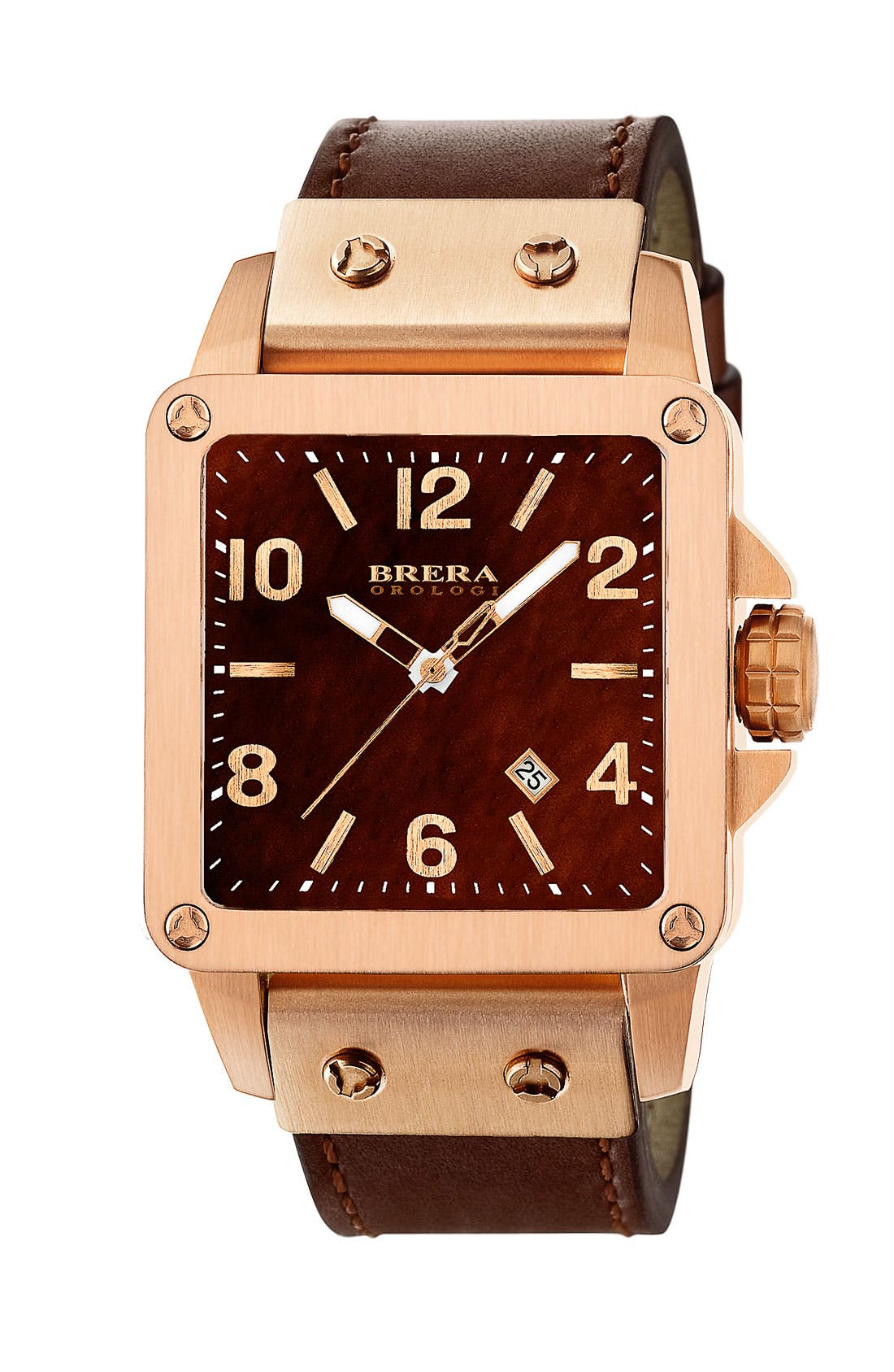 Alternate Image 1 Selected - STELLA SQUARE WATCH WITH LEATHER STRAP